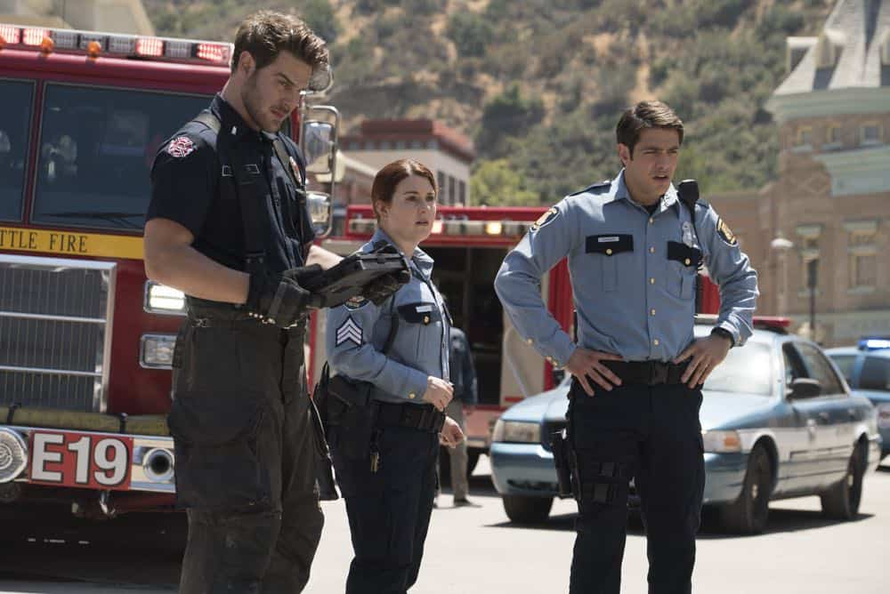 "STATION 19 - ""Under The Surface"" - It's a life-and-death situation when a young boy falls into water pipes beneath the city of Seattle. With the clock ticking, the firefighters of Station 19 jump into action to save his life, on ABC's ""Station 19,"" THURSDAY, OCT. 11 (9:01-10:00 p.m. EDT), on The ABC Television Network. (ABC/Eric McCandless) GREY DAMON, STEFANIE BLACK, ALBERTO FREZZA"