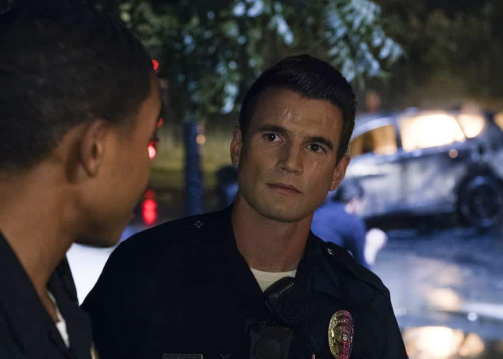 """""""Fire and Smoke"""" â€"""" The SWAT team is enlisted by Hondo's new romantic interest, Deputy District Attorney Nia Wells (Nikiva Dionne), to protect the jurors of a high-profile bribery trial, after some of them are targeted by organized crime in a series of fire-bombings, on S.W.A.T., Thursday, Oct. 11 (10:00-11:00 PM, ET/PT) on the CBS Television Network. Pictured: Alex Russell as Jim Street. Photo: Screengrab/CBS ©2018 CBS Broadcasting, Inc. All Rights Reserved"""