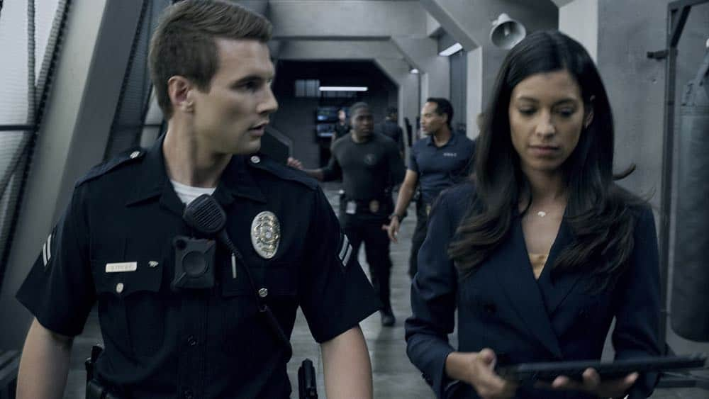 """""""Fire and Smoke"""" -- The SWAT team is enlisted by Hondo's new romantic interest, Deputy District Attorney Nia Wells (Nikiva Dionne), to protect the jurors of a high-profile bribery trial, after some of them are targeted by organized crime in a series of fire-bombings, on S.W.A.T., Thursday, Oct. 11 (10:00-11:00 PM, ET/PT) on the CBS Television Network. Pictured L to R: Alex Russell as Jim Street and Stephanie Sigman as Jessica Cortez. Photo: Screengrab/CBS ©2018 CBS Broadcasting, Inc. All Rights Reserved"""