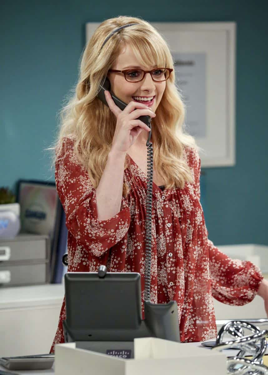 """The Tam Turbulence"" -- Pictured: Bernadette (Melissa Rauch). When Sheldon won't tell anyone why he's never mentioned Tam (Robert Wu), his childhood best friend, Leonard takes matters into his own hands. Also, Bernadette and Penny take out Raj's fiancée, Anu (Rati Gupta), for dinner to get the skinny on her, on THE BIG BANG THEORY, Thursday, Oct. 11 (8:00-8:31 PM, ET/PT) on the CBS Television Network. Jerry O'Connell returns as Sheldon's brother, George. Photo: Michael Yarish/CBS ©2018 CBS Broadcasting, Inc. All Rights Reserved."