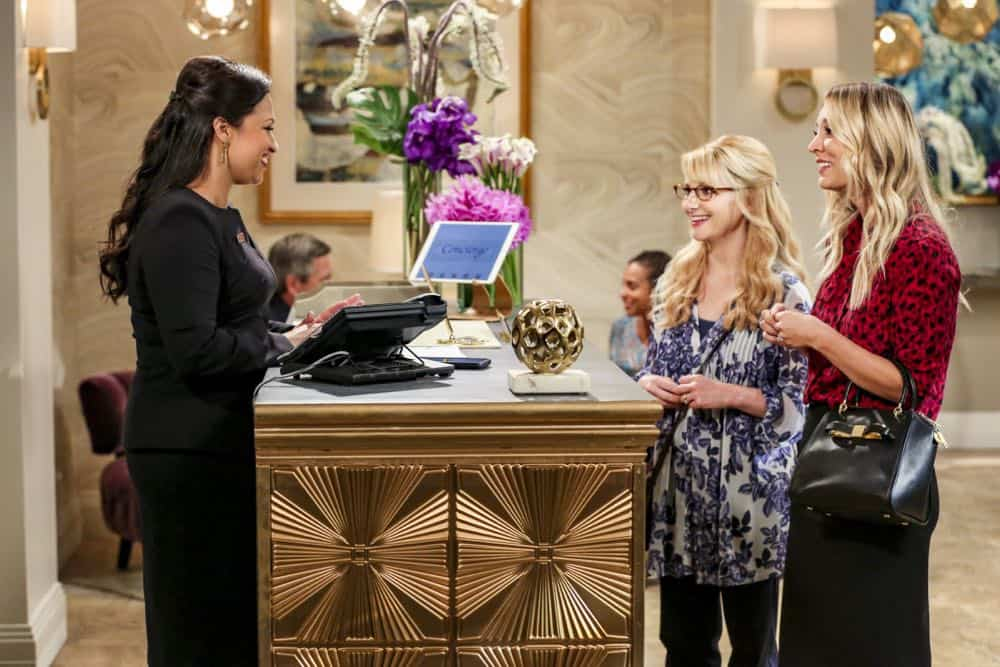 """""""The Tam Turbulence"""" -- Pictured: Anu (Rati Gupta), Bernadette (Melissa Rauch) and Penny (Kaley Cuoco). When Sheldon won't tell anyone why he's never mentioned Tam (Robert Wu), his childhood best friend, Leonard takes matters into his own hands. Also, Bernadette and Penny take out Raj's fiancée, Anu (Rati Gupta), for dinner to get the skinny on her, on THE BIG BANG THEORY, Thursday, Oct. 11 (8:00-8:31 PM, ET/PT) on the CBS Television Network. Jerry O'Connell returns as Sheldon's brother, George. Photo: Michael Yarish/CBS ©2018 CBS Broadcasting, Inc. All Rights Reserved."""