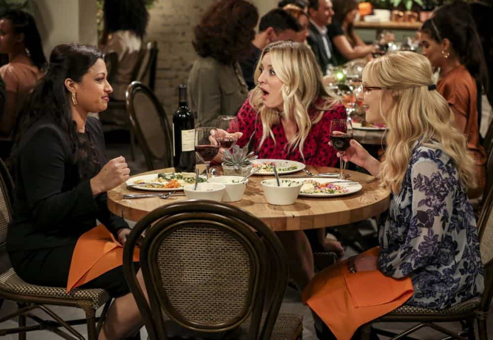 """The Tam Turbulence"" -- Pictured: Anu (Rati Gupta), Penny (Kaley Cuoco) and Bernadette (Melissa Rauch). When Sheldon won't tell anyone why he's never mentioned Tam (Robert Wu), his childhood best friend, Leonard takes matters into his own hands. Also, Bernadette and Penny take out Raj's fiancée, Anu (Rati Gupta), for dinner to get the skinny on her, on THE BIG BANG THEORY, Thursday, Oct. 11 (8:00-8:31 PM, ET/PT) on the CBS Television Network. Jerry O'Connell returns as Sheldon's brother, George. Photo: Michael Yarish/CBS ©2018 CBS Broadcasting, Inc. All Rights Reserved."
