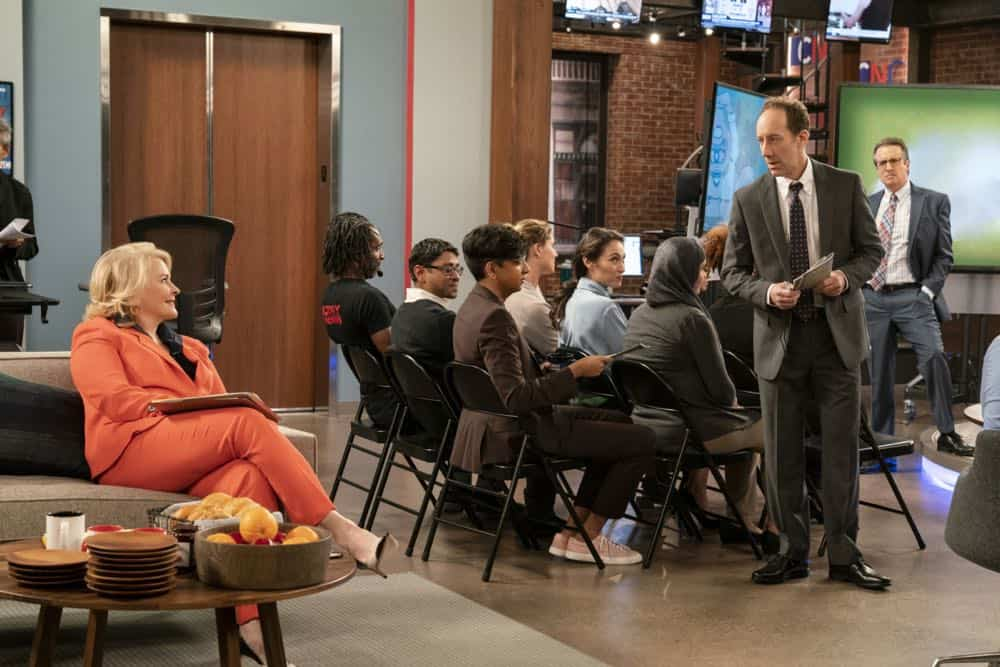 """""""Murphy Too""""  -- After attending a sexual harassment seminar for the """"Murphy in the Morning"""" staff, Murphy is surprised to find herself reeling from the long-repressed memory of her own #MeToo moment, on MURPHY BROWN, Thursday, Oct. 11 (9:30-10:00 PM, ET/PT) on the CBS Television Network. Pictured L-R: Candice Bergen as Murphy Brown, Nik Dodani as Pat Patel, Joey Slotnick as Brandon Jensen, and Grant Shaud as Miles Silverberg Photo Credit: David Giesbrecht/© 2018 Warner Bros. Entertainment Inc.  All Rights Reserved"""
