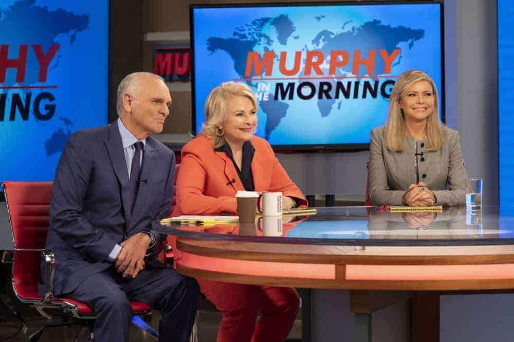 """""""Murphy Too"""" -- After attending a sexual harassment seminar for the """"Murphy in the Morning"""" staff, Murphy is surprised to find herself reeling from the long-repressed memory of her own #MeToo moment, on MURPHY BROWN, Thursday, Oct. 11 (9:30-10:00 PM, ET/PT) on the CBS Television Network. Pictured L-R: Joe Regalbuto as Frank Fontana, Candice Bergen as Murphy Brown, and Faith Ford as Corky Sherwood Photo Credit: David Giesbrecht/© 2018 Warner Bros. Entertainment Inc. All Rights Reserved"""