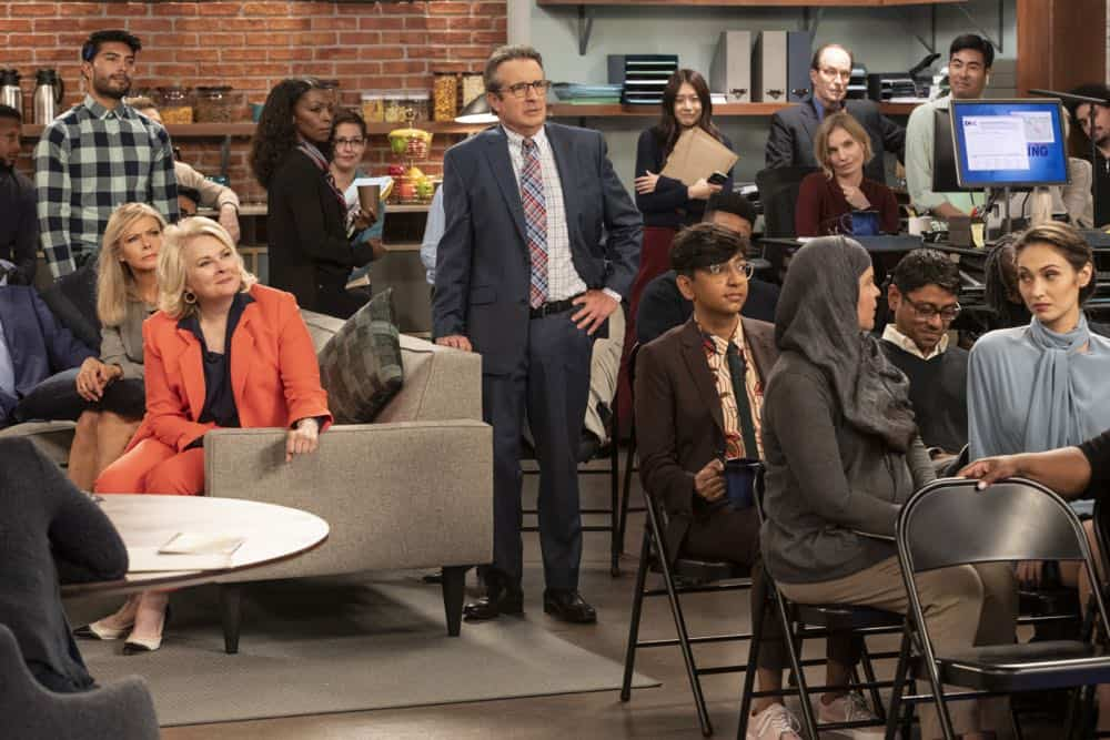 """""""Murphy Too""""  -- After attending a sexual harassment seminar for the """"Murphy in the Morning"""" staff, Murphy is surprised to find herself reeling from the long-repressed memory of her own #MeToo moment, on MURPHY BROWN, Thursday, Oct. 11 (9:30-10:00 PM, ET/PT) on the CBS Television Network. Pictured L-R: Faith Ford as Corky Sherwood, Candice Bergen as Murphy Brown, Grant Shaud as Miles Silverberg, Nik Dodani as Pat Patel, and Paloma Guzman as Monica Photo Credit: David Giesbrecht/© 2018 Warner Bros. Entertainment Inc.  All Rights Reserved"""