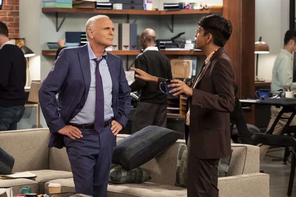 """""""Murphy Too""""  -- After attending a sexual harassment seminar for the """"Murphy in the Morning"""" staff, Murphy is surprised to find herself reeling from the long-repressed memory of her own #MeToo moment, on MURPHY BROWN, Thursday, Oct. 11 (9:30-10:00 PM, ET/PT) on the CBS Television Network. Pictured L-R: Joe Regalbuto as Frank Fontana and Nik Dodani as Pat Patel Photo Credit: David Giesbrecht/© 2018 Warner Bros. Entertainment Inc.  All Rights Reserved"""