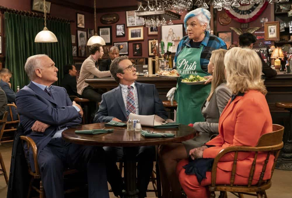 """""""Murphy Too""""  -- After attending a sexual harassment seminar for the """"Murphy in the Morning"""" staff, Murphy is surprised to find herself reeling from the long-repressed memory of her own #MeToo moment, on MURPHY BROWN, Thursday, Oct. 11 (9:30-10:00 PM, ET/PT) on the CBS Television Network. Pictured L-R: Joe Regalbuto as Frank Fontana, Grant Shaud as Miles Silverberg, Tyne Daly as Phyllis, Faith Ford as Corky Sherwood, and Candice Bergen as Murphy Brown Photo Credit: David Giesbrecht/© 2018 Warner Bros. Entertainment Inc.  All Rights Reserved"""