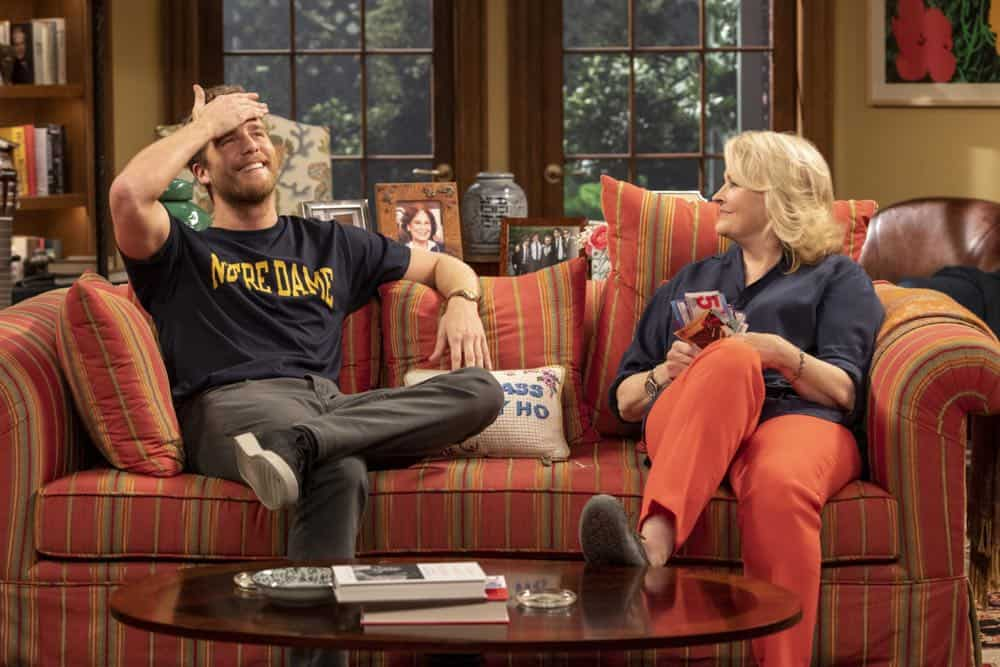 """""""Murphy Too""""  -- After attending a sexual harassment seminar for the """"Murphy in the Morning"""" staff, Murphy is surprised to find herself reeling from the long-repressed memory of her own #MeToo moment, on MURPHY BROWN, Thursday, Oct. 11 (9:30-10:00 PM, ET/PT) on the CBS Television Network. Pictured L-R: Jake McDorman as Avery Brown and Candice Bergen as Murphy Brown Photo Credit: David Giesbrecht/© 2018 Warner Bros. Entertainment Inc.  All Rights Reserved"""