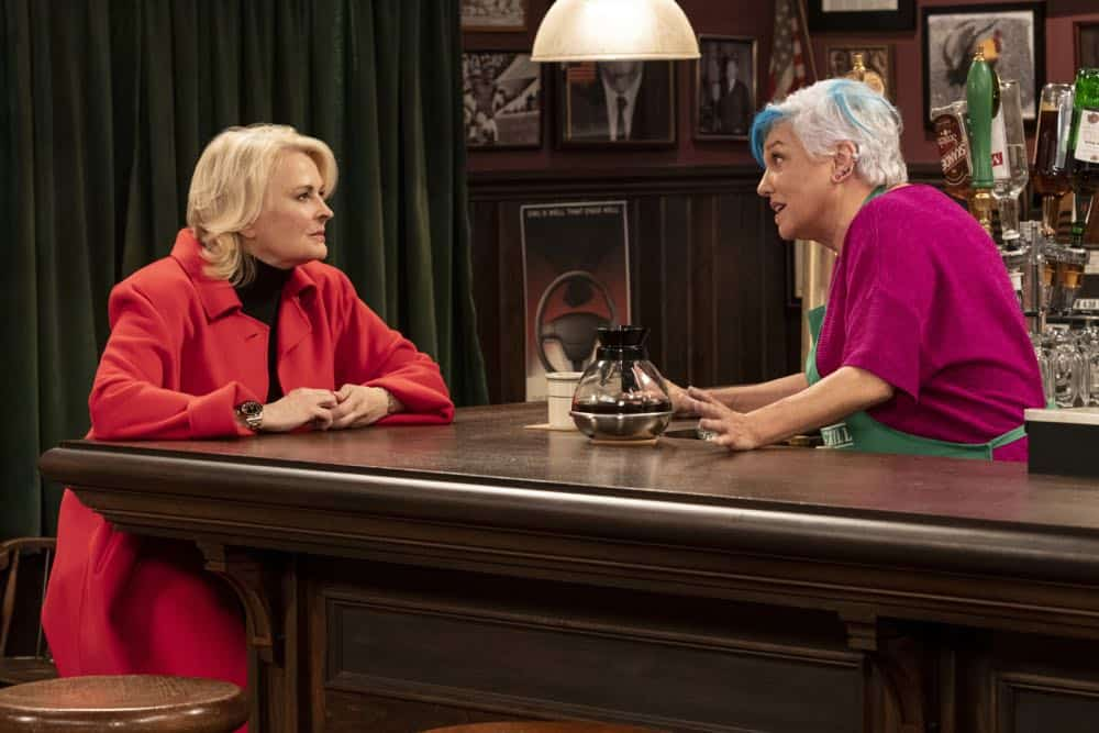 """""""Murphy Too""""  -- After attending a sexual harassment seminar for the """"Murphy in the Morning"""" staff, Murphy is surprised to find herself reeling from the long-repressed memory of her own #MeToo moment, on MURPHY BROWN, Thursday, Oct. 11 (9:30-10:00 PM, ET/PT) on the CBS Television Network. Pictured L-R: Candice Bergen as Murphy Brown and Tyne Daly as Phyllis Photo Credit: David Giesbrecht/© 2018 Warner Bros. Entertainment Inc.  All Rights Reserved"""
