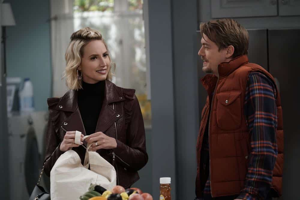 "LAST MAN STANDING: L-R: Molly McCook and Christoph Sanders in the ""Giving Mike The Business"" episode of LAST MAN STANDING airing Friday, Oct. 12 (8:00-8:30 PM ET/PT) on FOX. © 2018 FOX Broadcasting. CR: Michael Becker / FOX."