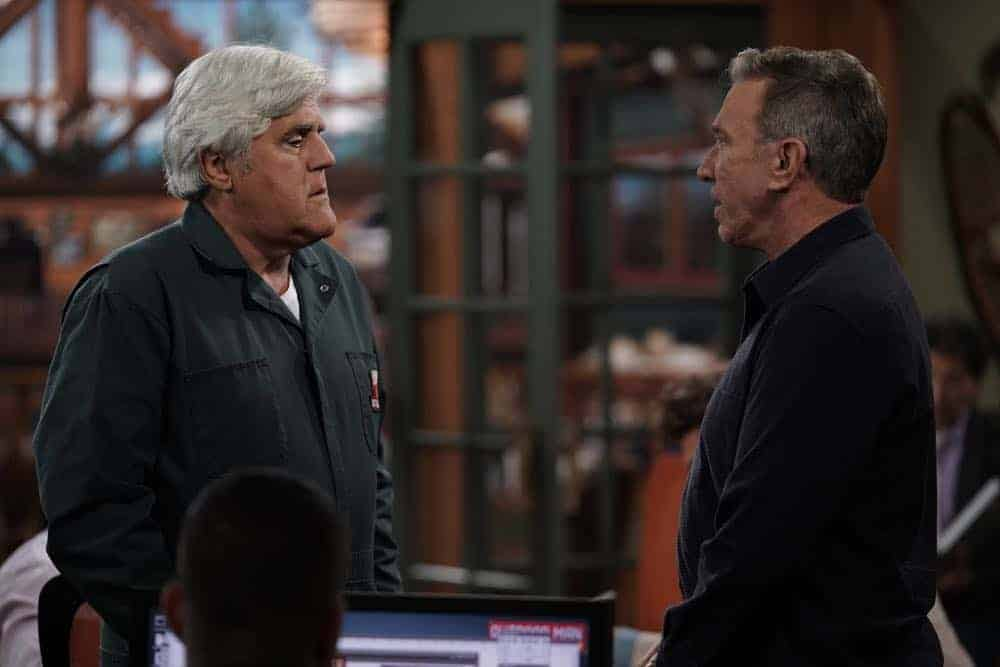 "LAST MAN STANDING: L-R: Guest star Jay Leno and Tim Allen in the ""Giving Mike The Business"" episode of LAST MAN STANDING airing Friday, Oct. 12 (8:00-8:30 PM ET/PT) on FOX. © 2018 FOX Broadcasting. CR: Michael Becker / FOX."