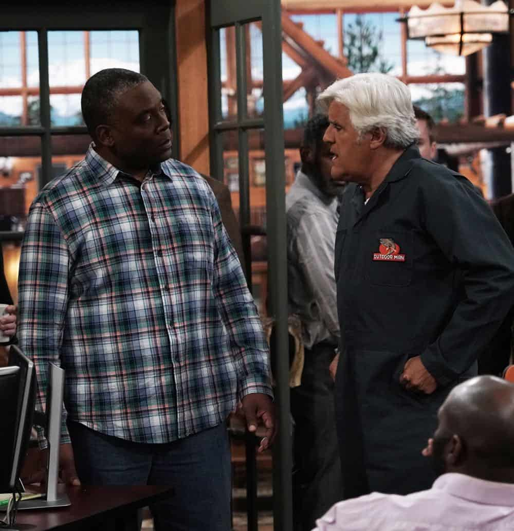 "LAST MAN STANDING: L-R: Jonathan Adams and guest star Jay Leno in the ""Giving Mike The Business"" episode of LAST MAN STANDING airing Friday, Oct. 12 (8:00-8:30 PM ET/PT) on FOX. © 2018 FOX Broadcasting. CR: Michael Becker / FOX."