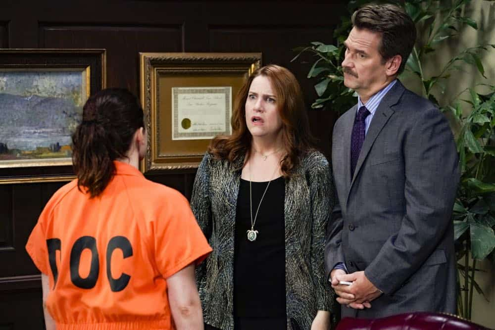 "Crazy Ex Girlfriend -- ""I Want To Be Here"" -- Image Number: CEG401a_0288.jpg -- Pictured (L-R): Rachel Bloom as Rebecca, Donna Lynne Champlin as Paula and Pete Gardner as Darryl -- Photo: Robert Voets/The CW -- © 2018 The CW Network, LLC All Rights Reserved."