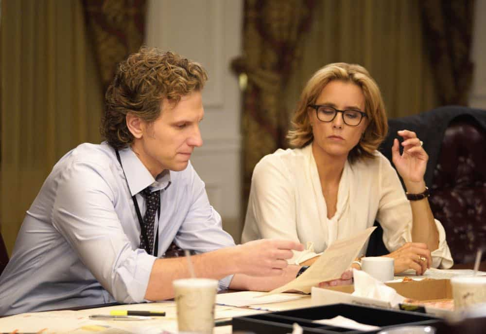 """The Chaos Game"" -- When Elizabeth discovers that the White House attackers had support from overseas, she tries to hunt down those responsible without starting a war. Also, Henry comes face to face with one of the attackers, on MADAM SECRETARY, Sunday, Oct. 14 (10:30-11:30 PM, ET/10:00-11:00 PM, PT) on the CBS Television Network. Pictured (L-R) Sebastian Arcelus as Jay Whitman and Téa Leoni as Elizabeth McCord . Photo: Sarah Shatz/CBS©2018 CBS Broadcasting, Inc. All Rights Reserved"