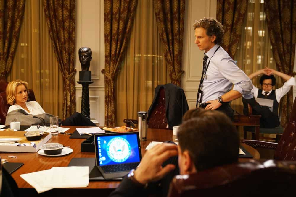 """The Chaos Game"" -- When Elizabeth discovers that the White House attackers had support from overseas, she tries to hunt down those responsible without starting a war. Also, Henry comes face to face with one of the attackers, on MADAM SECRETARY, Sunday, Oct. 14 (10:30-11:30 PM, ET/10:00-11:00 PM, PT) on the CBS Television Network. Pictured (L-R) Téa Leoni as Elizabeth McCord and Sebastian Arcelus as Jay Whitman. Photo: Sarah Shatz/CBS©2018 CBS Broadcasting, Inc. All Rights Reserved"