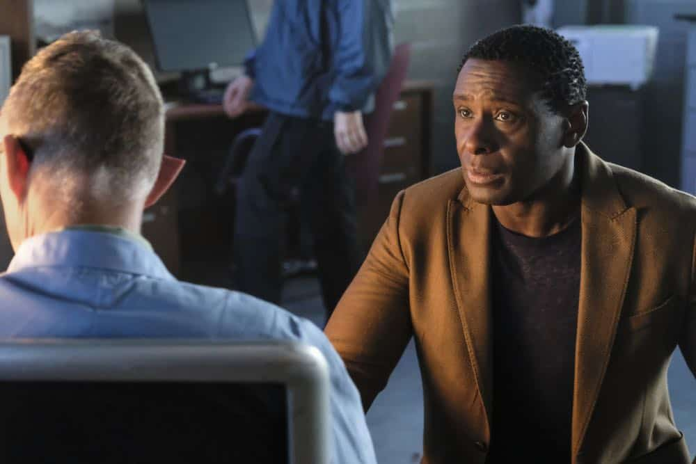 "Supergirl -- ""American Alien"" -- Image Number: SPG401b_0259b.jpg -- Pictured: Vincent Gale as Dr. Rohan Vose and David Harewood as Hank Henshaw/J'onn J'onzz -- Photo: Bettina Strauss/The CW -- © 2018 The CW Network, LLC. All Rights Reserved."