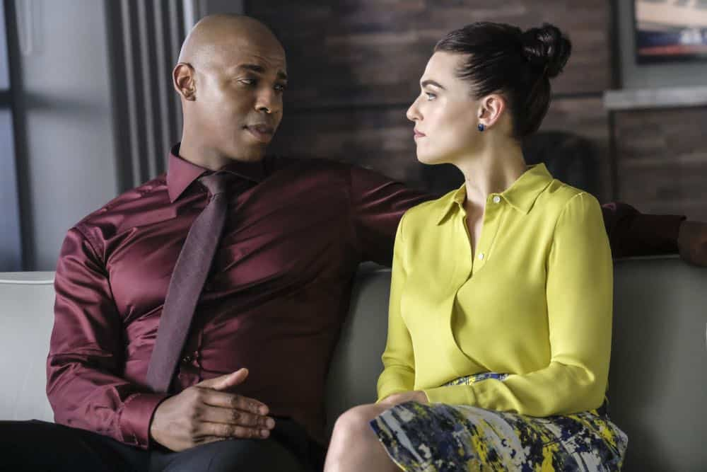 "Supergirl -- ""American Alien"" -- Image Number: SPG401a_0118b.jpg -- Pictured (L-R): Mehcad Brooks as James Olsen/Guardian and Katie McGrath as Lena Luther -- Photo: Bettina Strauss/The CW -- © 2018 The CW Network, LLC. All Rights Reserved."