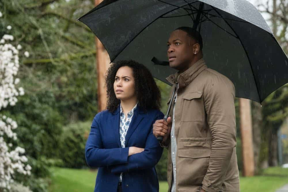 """Charmed -- """"Pilot""""-- Image Number: CMD101f_0136.jpg -- Pictured (L-R): Madeleine Mantock as Macy Vaughn and Ser' Darius Blain as Galvin -- Photo: Katie Yu/The CW -- © 2018 The CW Network, LLC. All Rights Reserved."""