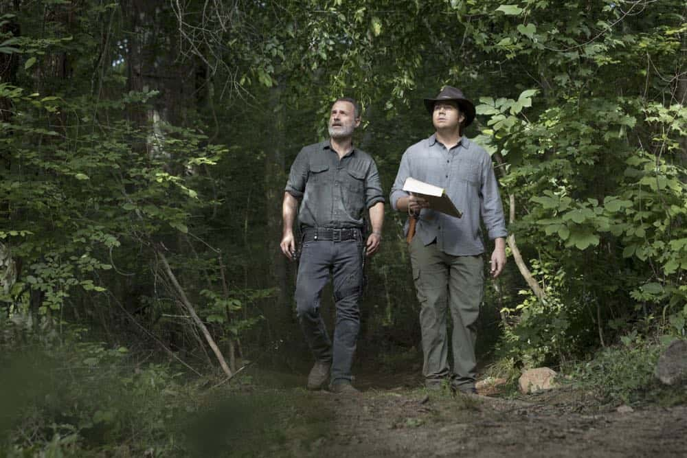 Andrew Lincoln as Rick Grimes, Josh McDermitt as Dr. Eugene Porter - The Walking Dead _ Season 9, Episode 2 - Photo Credit: Jackson Lee Davis/AMC