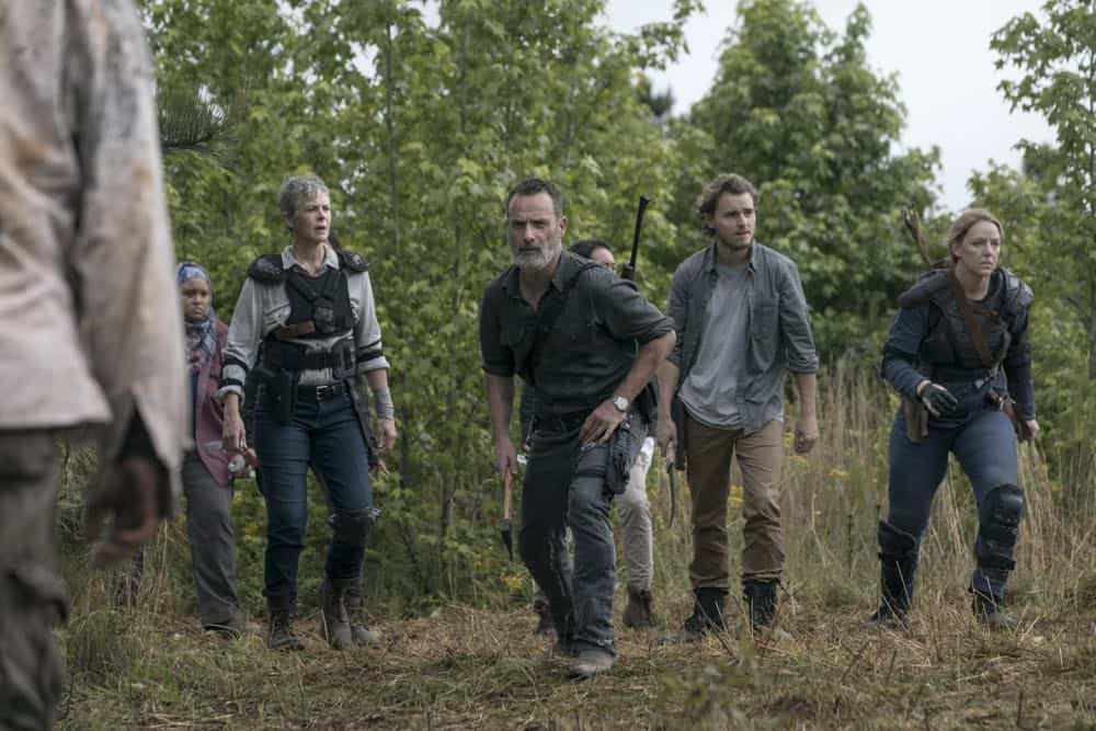 Melissa McBride as Carol Peletier, Andrew Lincoln as Rick Grimes, Callan McAuliffe as Alden, Kerry Cahill as Dianne - The Walking Dead _ Season 9, Episode 2 - Photo Credit: Jackson Lee Davis/AMC