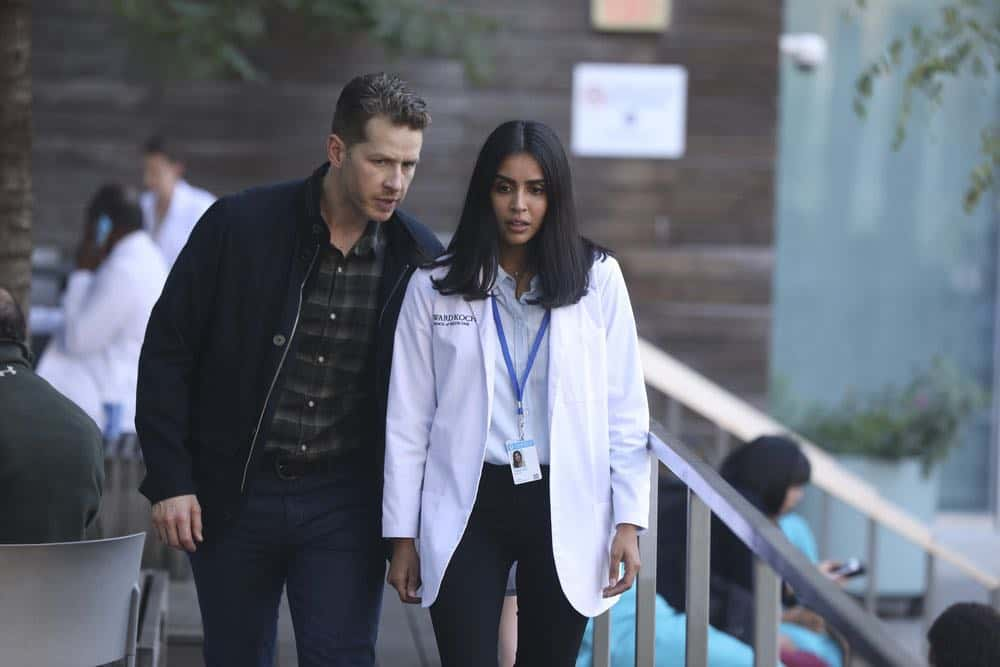 "MANIFEST -- ""Unclaimed Baggage"" Episode 104 -- Pictured: (l-r) Josh Dallas as Ben Stone, Parveen Kaur as Saanvi Bahl -- (Photo by: Craig Blankenhorn/NBC/Warner Brothers)"