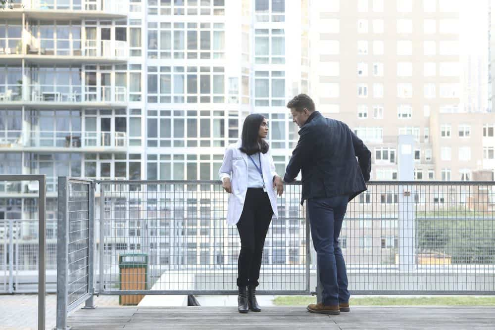 "MANIFEST -- ""Unclaimed Baggage"" Episode 104 -- Pictured: (l-r) Parveen Kaur as Saanvi Bahl, Josh Dallas as Ben Stone -- (Photo by: Craig Blankenhorn/NBC/Warner Brothers)"