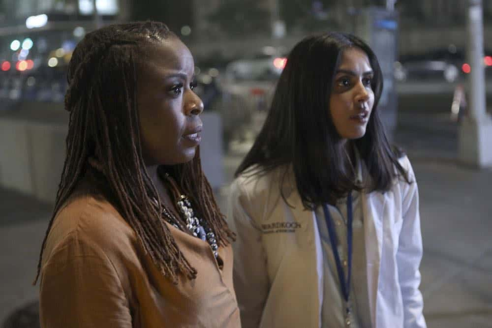 "MANIFEST -- ""Unclaimed Baggage"" Episode 104 -- Pictured: (l-r) Mugga as Bethany, Parveen Kaur as Saanvi Bahl -- (Photo by: Craig Blankenhorn/NBC/Warner Brothers)"