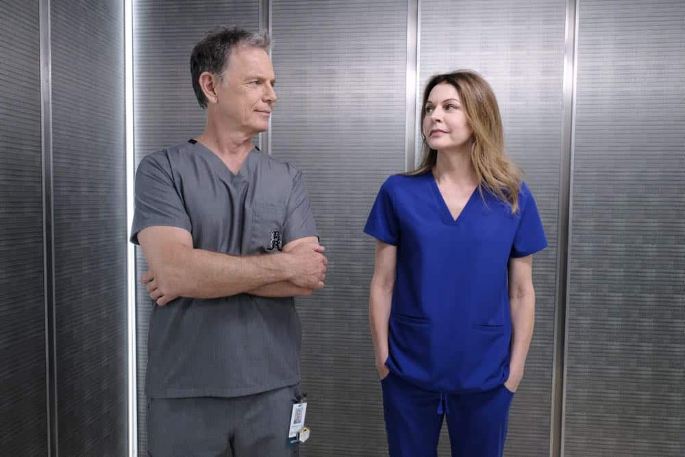 """THE RESIDENT: L-R: Bruce Greenwood and Jane Leeves in the """"About Time"""" episode of THE RESIDENT airing Monday, Oct. 15 (8:00-9:00 PM ET/PT) on FOX. ©2018 Fox Broadcasting Co. Cr: Guy D'AlemaFOX."""