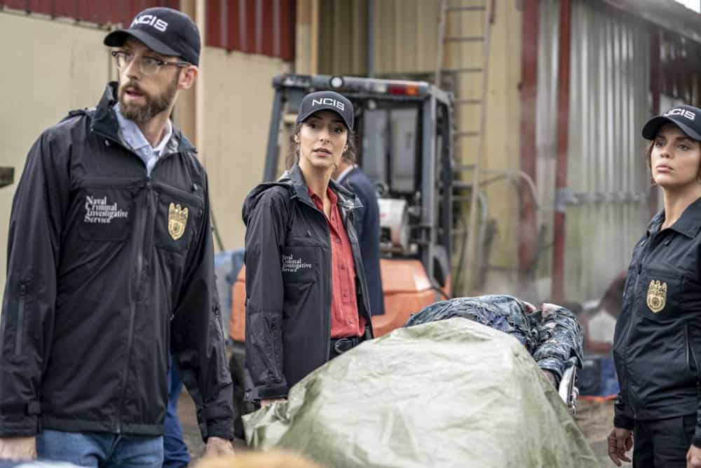 """Legacy"" -- After a petty officer is found murdered under a shrimping boat, the NCIS investigation uncovers a conspiracy in the tight-knit local fishing community. Also, Lasalle awaits the final results of the tax fraud investigation into his familyÕs company, on NCIS: NEW ORLEANS, Tuesday, Oct. 16 (10:00-11:00 PM, ET/PT) on the CBS Television Network. Pictured L-R: Rob Kerkovich as Forensic Scientist Sebastian Lund, Necar Zadegan as Special Agent Hannah Khoury, and Vanessa Ferlito as FBI Special Agent Tammy Gregorio Photo: Skip Bolen/CBS ©2018 CBS Broadcasting, Inc. All Rights Reserved"