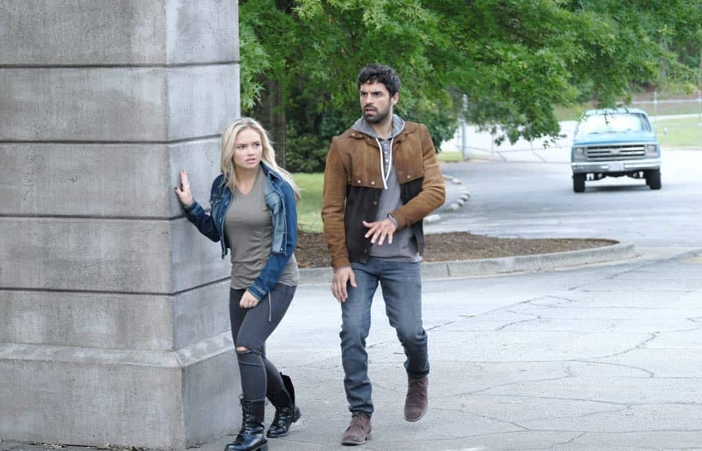 """THE GIFTED: L-R: Natalie Alyn Lind and Sean Teale in the """"outMatched"""" episode of THE GIFTED airing Tuesday, Oct. 16 (8:00-9:00 PM ET/PT) on FOX. ©2018 Fox Broadcasting Co. Cr: Guy D'Alema/FOX."""