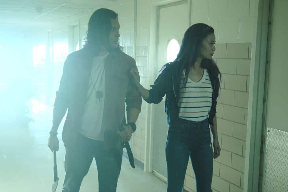 """THE GIFTED: L-R: Blair Redford and Jamie Chung in the """"outMatched"""" episode of THE GIFTED airing Tuesday, Oct. 16 (8:00-9:00 PM ET/PT) on FOX. ©2018 Fox Broadcasting Co. Cr: Guy D'Alema/FOX."""