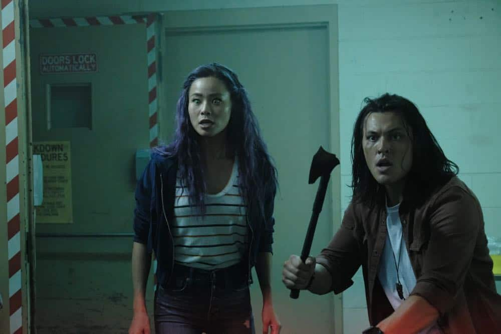 "THE GIFTED:  L-R:  Jamie Chung and Blair Redford in the ""outMatched"" episode of THE GIFTED airing Tuesday, Oct. 16 (8:00-9:00 PM ET/PT) on FOX. ©2018 Fox Broadcasting Co. Cr: Guy D'Alema/FOX."