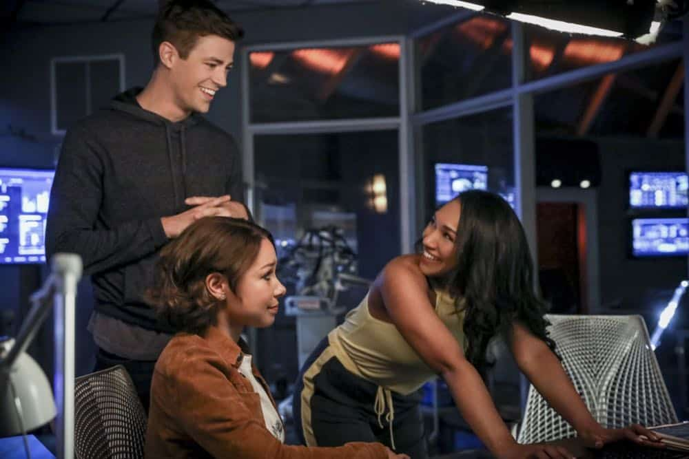 "The Flash -- ""Blocked"" -- Image Number: FLA502a_0308b.jpg -- Pictured (L-R):  Grant Gustin as Barry Allen, Jessica Parker Kennedy as Nora West - Allen and Candice Patton as Iris West - Allen -- Photo: Jack Rowand/The CW -- © 2018 The CW Network, LLC. All rights reserved"