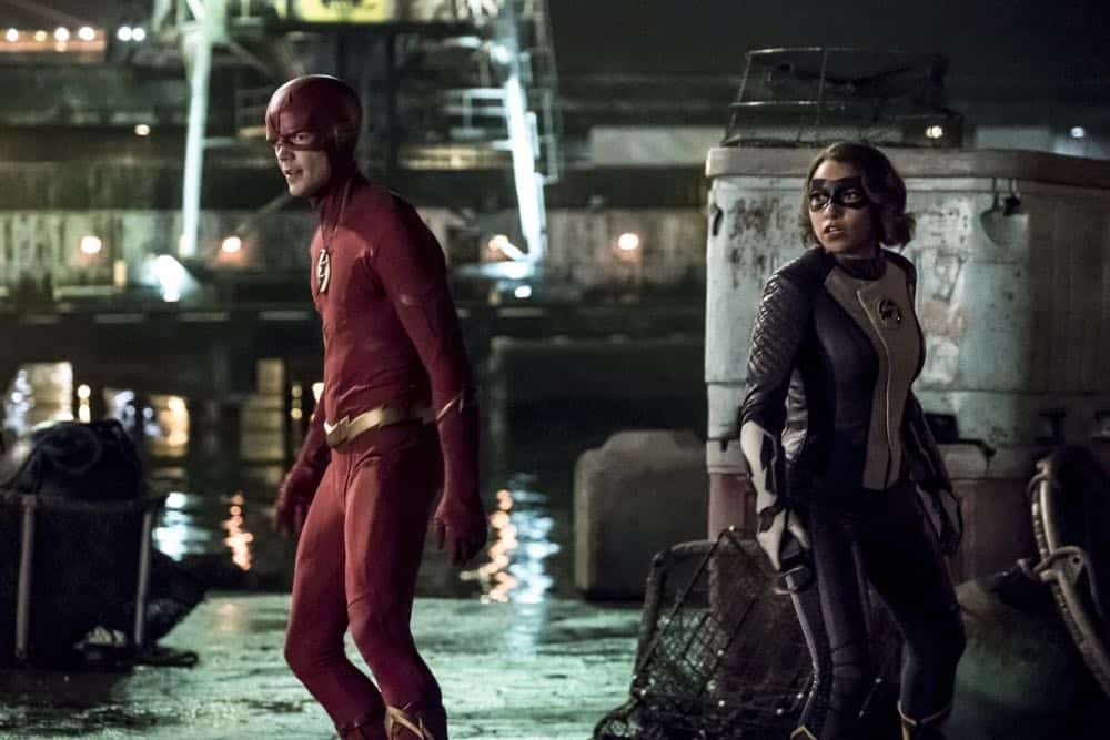 "The Flash -- ""Blocked"" -- Image Number: FLA502b_0020b.jpg -- Pictured (L-R):  Grant Gustin as The Flash and Jessica Parker Kennedy as XS -- Photo: Katie Yu/The CW -- © 2018 The CW Network, LLC. All rights reserved"