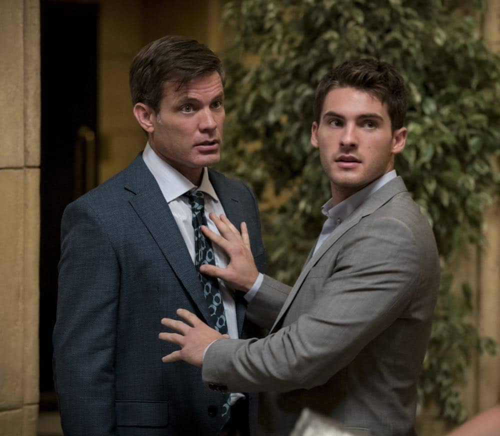 "All American -- ""99 Problems""-- Image Number: ALA102c_0182b.jpg -- Pictured (L-R): Casper Van Dien as Harold Adams and Cody Christian as Asher -- Photo: Jesse Giddings/The CW -- © 2018 The CW Network, LLC. All Rights Reserved"