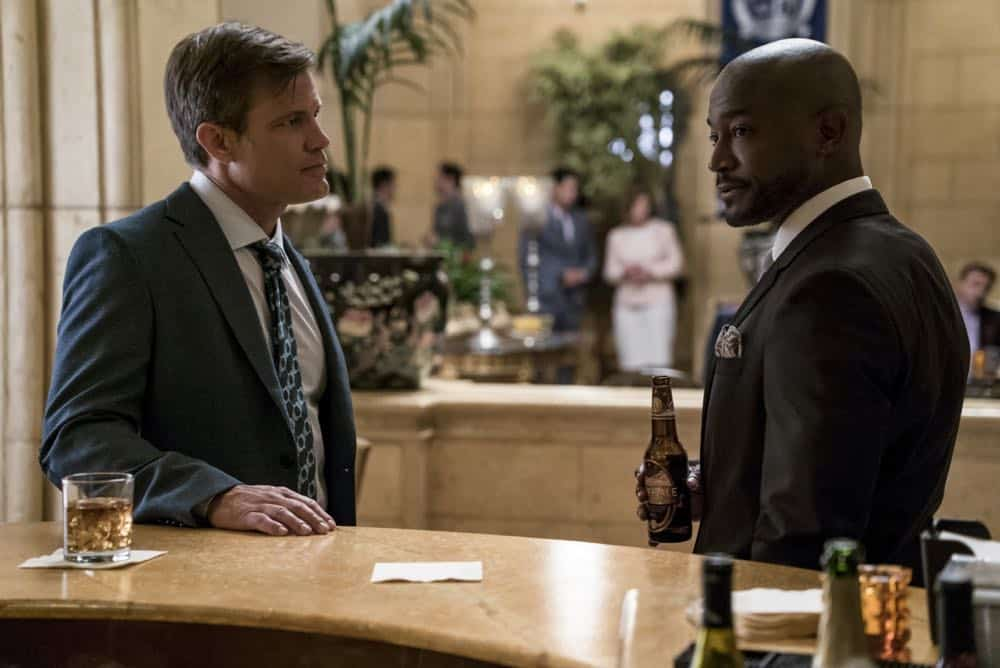 "All American -- ""99 Problems""-- Image Number: ALA102c_0246b.jpg -- Pictured (L-R): Casper Van Dien as Harold Adams and Taye Diggs as Billy -- Photo: Jesse Giddings/The CW -- © 2018 The CW Network, LLC. All Rights Reserved"