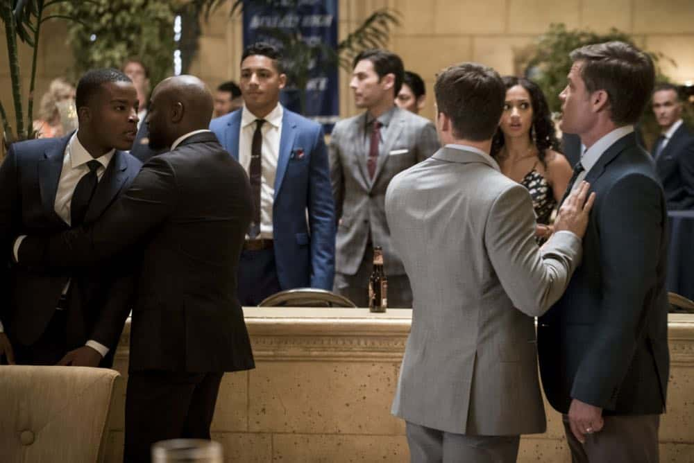 "All American -- ""99 Problems""-- Image Number: ALA102c_0256b.jpg -- Pictured (L-R): Daniel Ezra as Spencer, Taye Diggs as Billy, Cody Christian as Asher and Casper Van Dien as Harold Adams -- Photo: Jesse Giddings/The CW -- © 2018 The CW Network, LLC. All Rights Reserved"