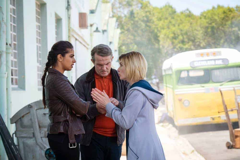 Picture shows: Yaz (MANDIP GILL), Graham (BRADLEY WALSH), The Doctor (JODIE WHITTAKER)