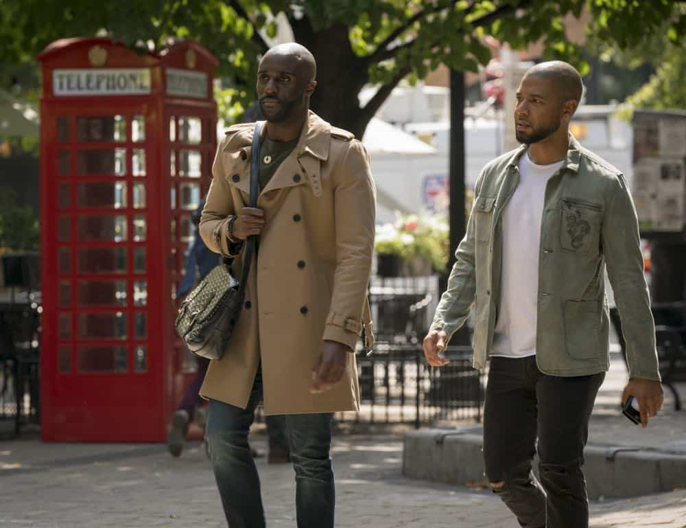 "EMPIRE: L-R: Guest star Tobenna Brian Onwumere and Jussie Smollett in the ""Love All, Trust A Few"" episode of EMPIRE airing Wednesday, Oct. 17 (8:00-9:00 PM ET/PT) on FOX. @2018 Fox Broadcasting Co. CR: Chuck Hodes/FOX."