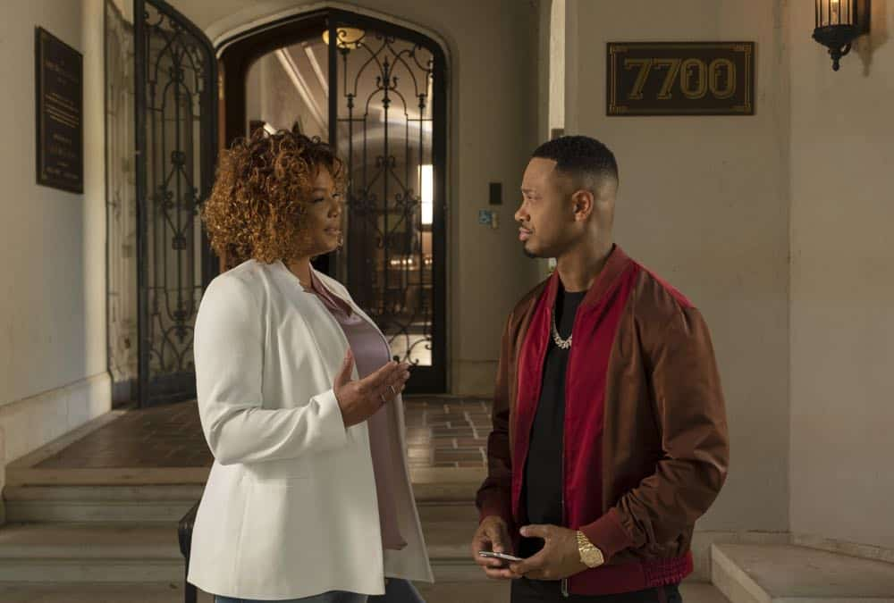 "STAR: L-R: Queen Latifah and guest star Terrence Jenkins in the ""All Falls Down"" episode of STAR airing Wednesday, Oct. 17 (9:00-10:00 PM ET/PT) on FOX. ©2018 Fox Broadcasting Co. CR: Wilford Harewood/FOX"