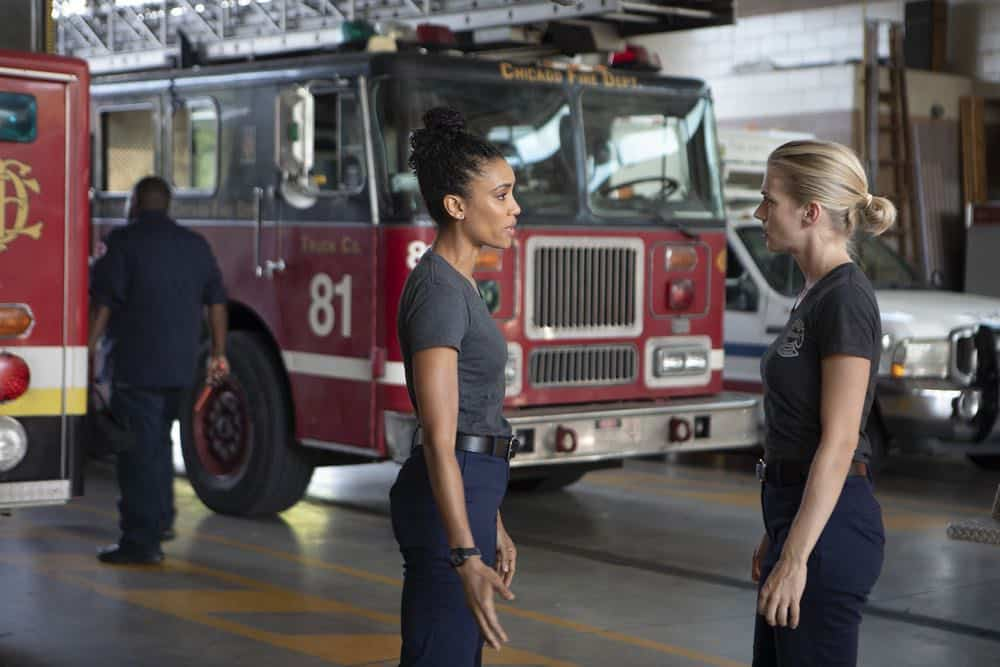 "CHICAGO FIRE -- ""This Isn't Charity"" Episode 704 -- Pictured: (l-r) Annie Ilonzeh as Emily Foster, Kara Killmer as Sylvie Brett -- (Photo by: Adrian Burrows/NBC)"