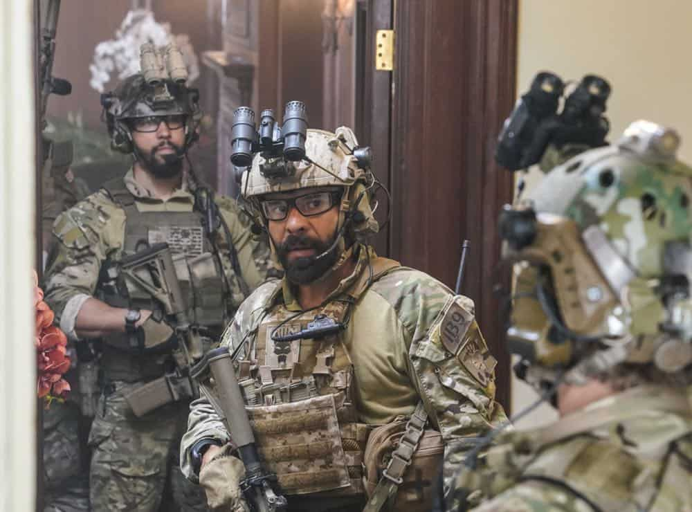 """The Worst of Conditions"" -- After tragedy strikes, Jason is faced with a huge decision regarding his future with Bravo Team, on SEAL TEAM, Wednesday, Oct. 17 (9:00-10:00 PM, ET/PT) on the CBS Television Network. Pictured L to R: Neil Brown Jr. as Ray Perry and Michael Irby as Adam. Photo: MontyBrinton/CBS ©2018 CBS Broadcasting, Inc. All Rights Reserved"