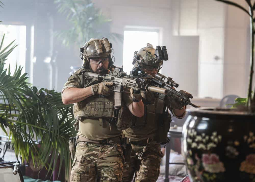 """The Worst of Conditions"" -- After tragedy strikes, Jason is faced with a huge decision regarding his future with Bravo Team, on SEAL TEAM, Wednesday, Oct. 17 (9:00-10:00 PM, ET/PT) on the CBS Television Network. PicturedL to R: AJ Buckley as Sonny Quinn and Max Thieriot as Clay Spenser. Photo: MontyBrinton/CBS ©2018 CBS Broadcasting, Inc. All Rights Reserved"