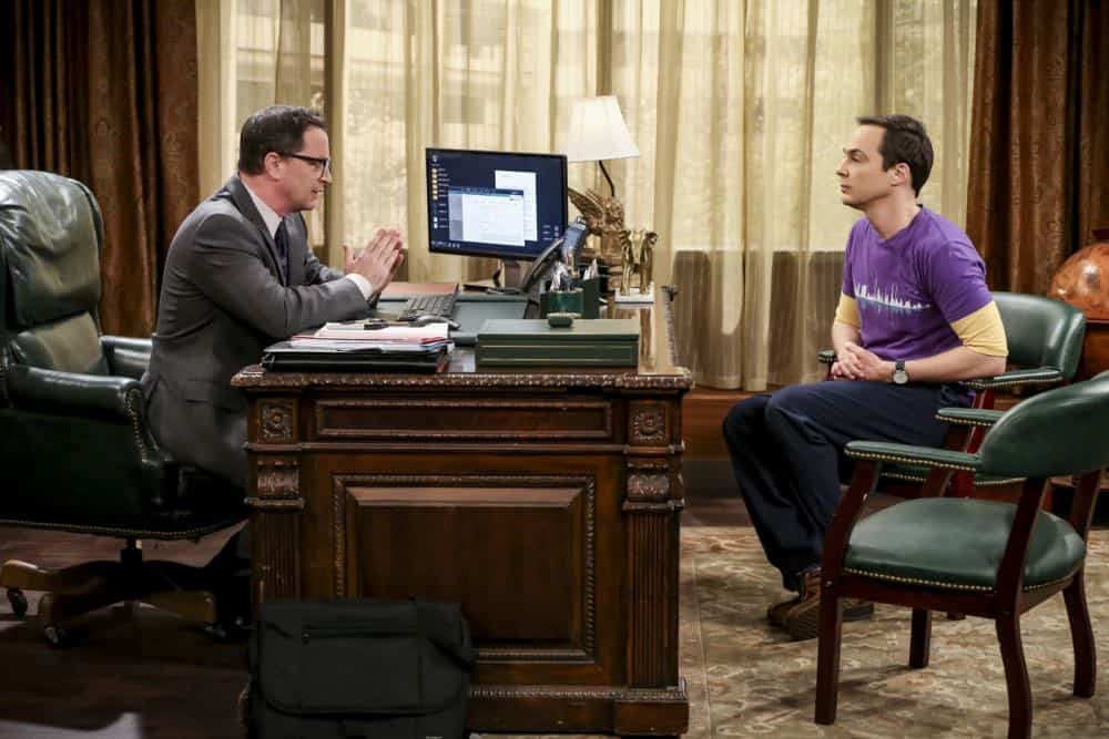 """The Planetarium Collision"" -- Pictured: President Siebert (Joshua Malina) and Sheldon Cooper (Jim Parsons). When Amy doesn't have time to work on super-asymmetry, Sheldon goes to great lengths to ensure she's available to work with him even it if means accidentally sabotaging her career in the process. Also, Koothrappali doesn't want Wolowitz to join him in hosting a show at the planetarium, on THE BIG BANG THEORY, Thursday, Oct. 18 (8:00-8:31 PM, ET/PT) on the CBS Television Network. Emmy Award winner Bob Newhart returns as Arthur Jeffries. Photo: Michael Yarish/Warner Bros. Entertainment Inc. © 2018 WBEI. All rights reserved."