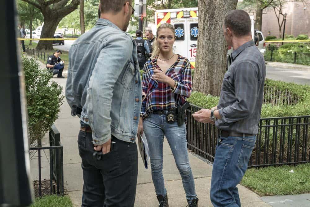 "CHICAGO P.D. -- ""Ride Along"" Episode 604 -- Pictured: (l-r) Patrick John Flueger as Adam Ruzek, Tracy Spiridakos as Hailey Upton, Jason Beghe as Hank Voight -- (Photo by: Matt Dinerstein/NBC)"
