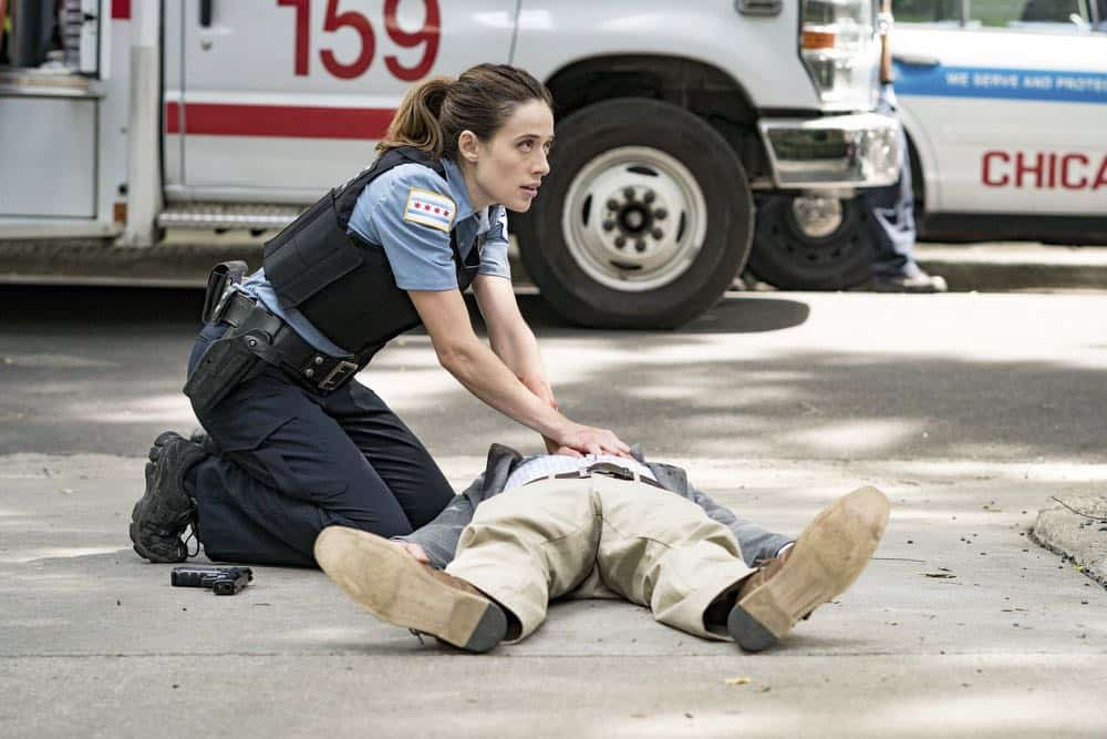 "CHICAGO P.D. -- ""Ride Along"" Episode 604 -- Pictured: Marina Squerciati as Kim Burgess -- (Photo by: Matt Dinerstein/NBC)"