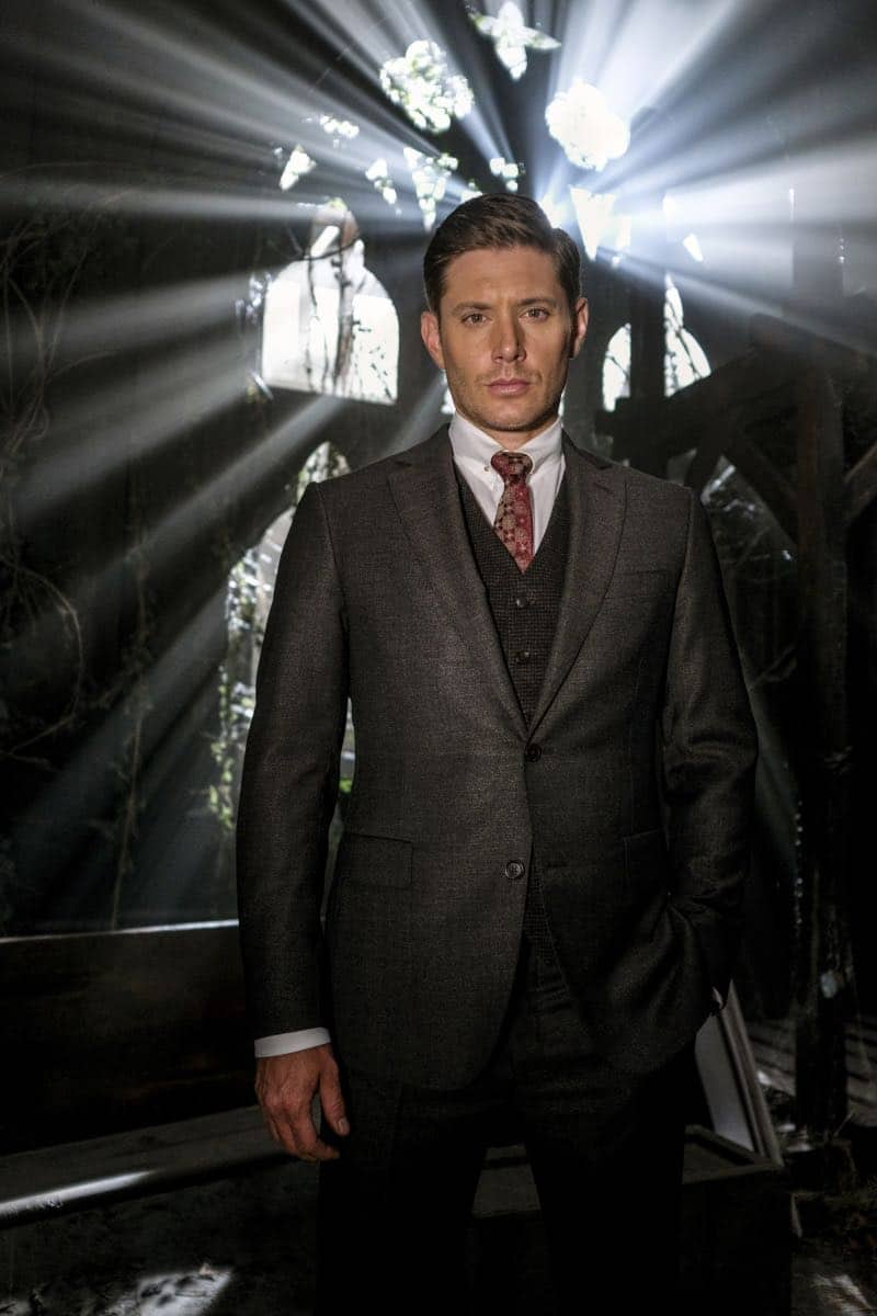 "Supernatural -- ""Gods and Monsters"" -- Image Number: SN1402A_BTS_0475b.jpg -- Pictured: Behind the scenes with Jensen Ackles as Dean/Michael -- Photo: Robert Falconer/The CW -- © 2018 The CW Network, LLC All Rights Reserved"