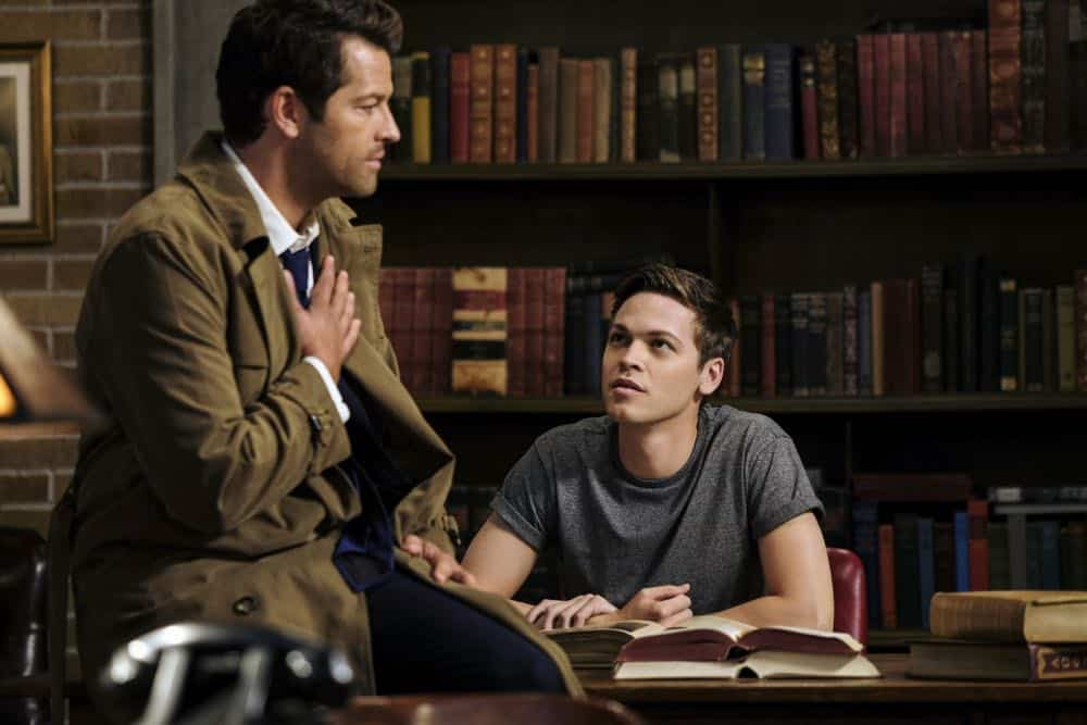 "Supernatural -- ""Gods and Monsters"" -- Image Number: SN1402A_0013b.jpg -- Pictured (L-R): Misha Collins as Castiel and Alexander Calvert as Jack -- Photo: Robert Falconer/The CW -- © 2018 The CW Network, LLC All Rights Reserved"