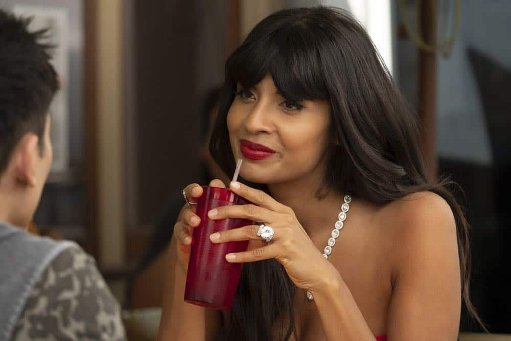 "THE GOOD PLACE -- ""Jeremy Bearimy"" Episode 305 -- Pictured: Jameela Jamil as Tahani -- (Photo by: Colleen Hayes/NBC)"