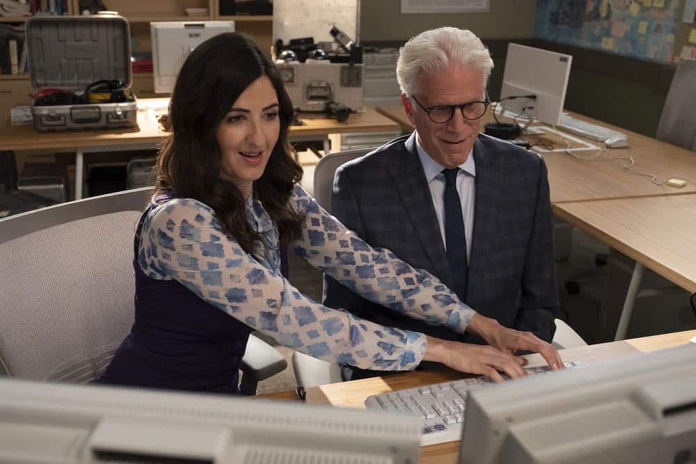 "THE GOOD PLACE -- ""Jeremy Bearimy"" Episode 305 -- Pictured: D?Arcy Carden as Janet, Ted Danson as Michael -- (Photo by: Colleen Hayes/NBC)"